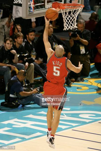 Jason Kidd of the New Jersey Nets attempts a layup during the Playstation Skills Challenge during AllStar Weekend on February 16 2008 at the New...