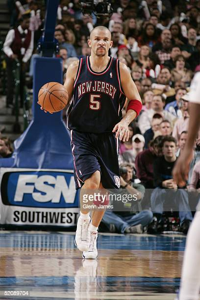 Jason Kidd of the New Jersey Nets brings the ball upcourt during the game against the Dallas Mavericks on January 15 2005 at the American Airlines...