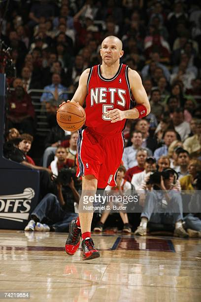 Jason Kidd of the New Jersey Nets brings the ball upcourt in Game Five of the Eastern Conference Semifinals against the Cleveland Cavaliers during...