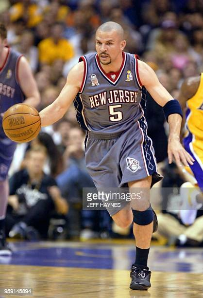 863e8c4f Jason Kidd of the New Jersey Nets comes down court against the Los Angeles  Lakers during