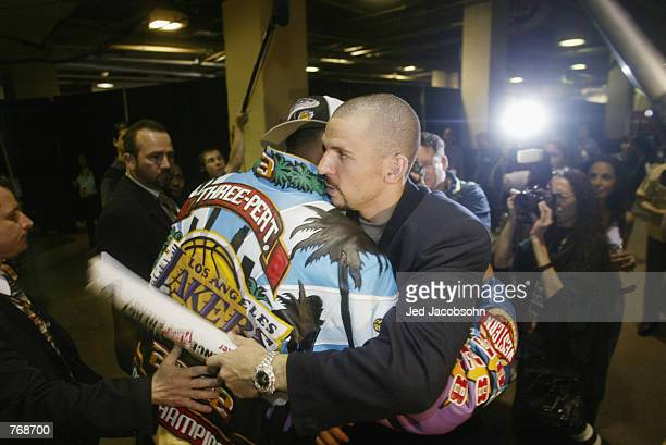 Jason Kidd of the New Jersey Nets congratulates Kobe Bryant of the Los Angeles Lakers after Game four of the 2002 NBA Finals on June 12 2002 at...