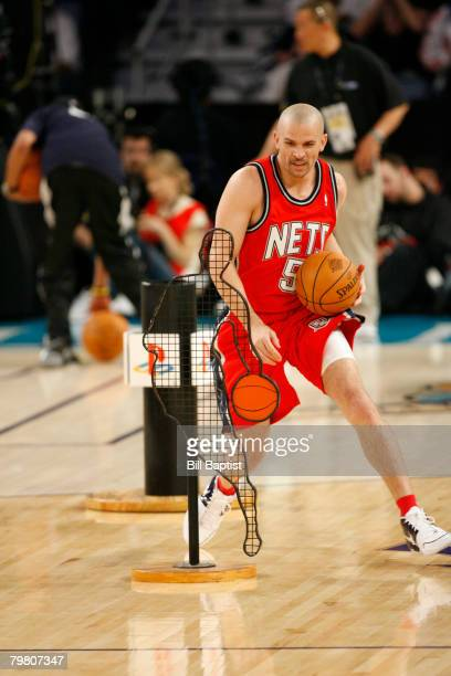 Jason Kidd of the New Jersey Nets dribbles during the Playstation Skills Challenge at the New Orleans Arena February 16 2008 in New Orleans Louisiana...