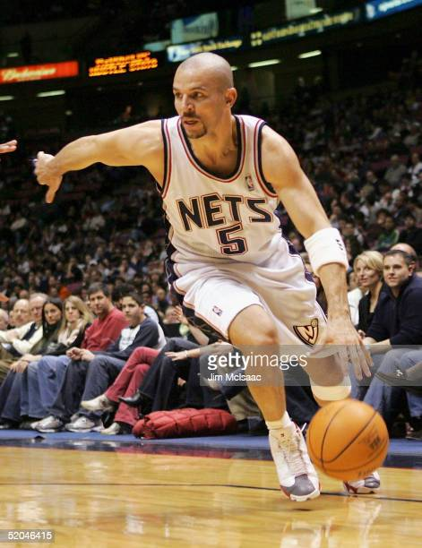 Jason Kidd of the New Jersey Nets dribbles the ball against the Boston Celtics during their game on January 21, 2005 at Continental Airlines Arena in...