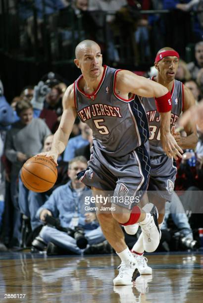 Jason Kidd of the New Jersey Nets drives against the Dallas Mavericks on January 20 2004 at the American Airlines Center in Dallas Texas NOTE TO USER...