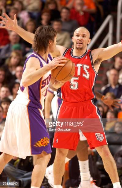 Jason Kidd of the New Jersey Nets guards Steve Nash of the Phoenix Suns in an NBA game played on January 20 2008 at US Airways Center in Phoenix...