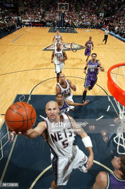 Jason Kidd of the New Jersey Nets lays the ball up during the game against the Milwaukee Bucks at Continental Airlines Arena on November 2 2005 in...