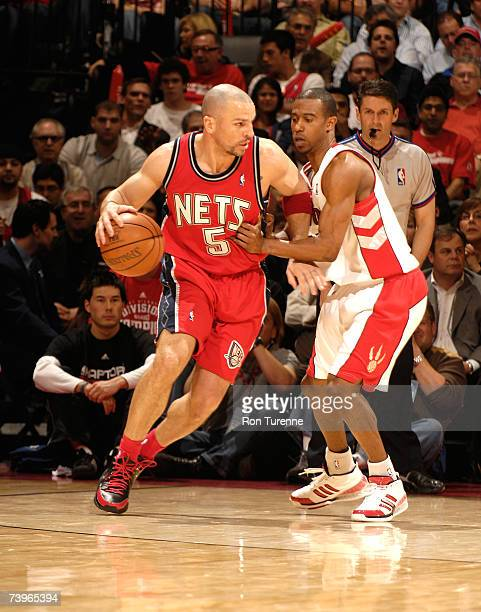 Jason Kidd of the New Jersey Nets looks to pass against TJ Ford of the Toronto Raptors in Game Two of the Eastern Conference Quarterfinals during the...