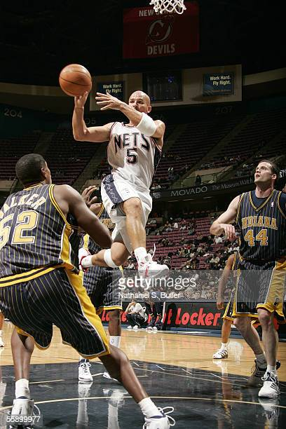 Jason Kidd of the New Jersey Nets makes a pass against Samaki Walker of the Indiana Pacers during the NBA preseason on October 11 2005 at the...