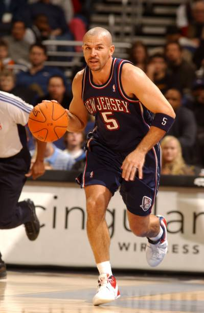 Jason Kidd  5 of the New Jersey Nets moves the ball against the Washington  Wizards d93ef5e30