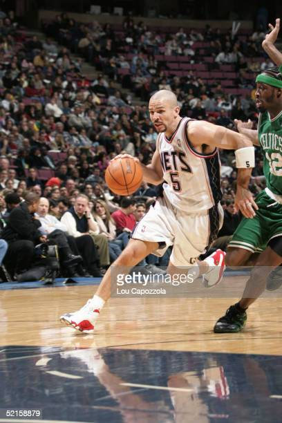 Jason Kidd of the New Jersey Nets moves the ball during the game against the Boston Celtics on January 21 2005 at the Continental Airlines Arena in...