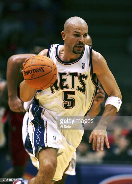 Jason Kidd of the New Jersey Nets moves the ball upcourt against the Toronto Raptors at the Continental Airlines Arena on November 1, 2006 in East...