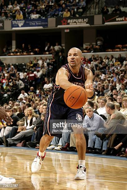 Jason Kidd of the New Jersey Nets passes the ball against the Indiana Pacers at Conseco Fieldhouse on November 17, 2006 in Indianapolis, Indiana. The...