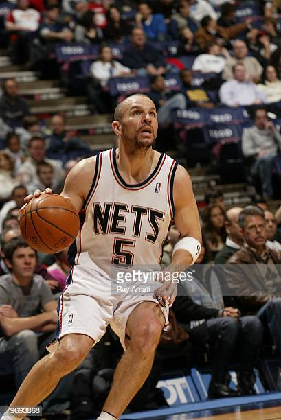 Jason Kidd of the New Jersey Nets plays against the Dallas Mavericks at the IZOD Center February 10 2008 in East Rutherford New Jersey NOTE TO USER...