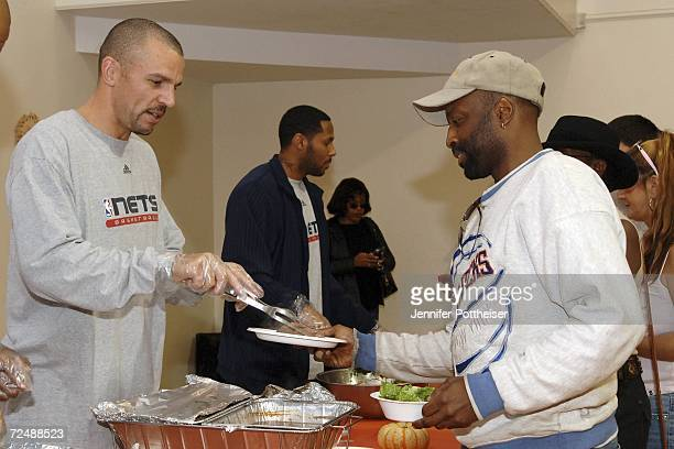 Jason Kidd of the New Jersey Nets serves an early Thanksgiving meal at the Salvation Army on November 9 2006 in Montclair New Jersey NOTE TO USER...