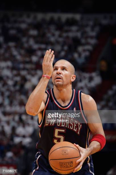 Jason Kidd of the New Jersey Nets shoots a free throw in game five of the Eastern Conference Semifinals against the Miami Heat during the 2006 NBA...