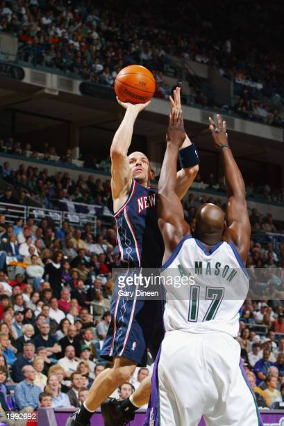 Jason Kidd of the New Jersey Nets shoots a jump shot over Anthony Mason of the Milwaukee Bucks in Game six of the Eastern Conference Quarterfinals...