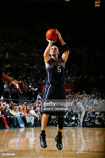 Jason Kidd of the New Jersey Nets shoots against the New York Knicks in Game three of the Eastern Conference Quarterfinals during the 2004 NBA...