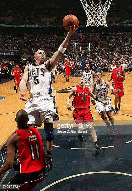 Jason Kidd of the New Jersey Nets shoots against TJ Ford of the Toronto Raptors in Game Three of the Eastern Conference Quarterfinals during the 2007...