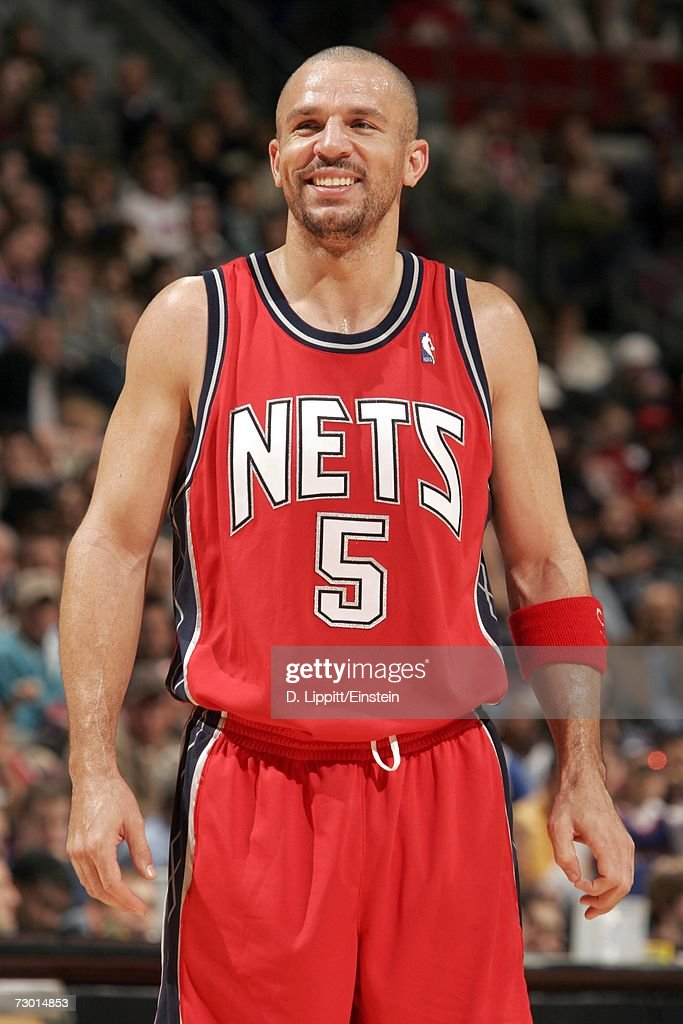 Jason Kidd #5 of the New Jersey Nets smiles during the game against the Detroit Pistons on December 26, 2006 at the Palace of Auburn Hills in Auburn Hills, Michigan. The Pistons defeated the Nets 92-91.