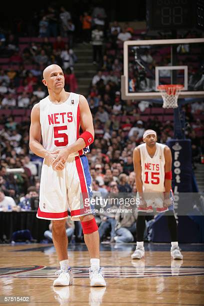 Jason Kidd of the New Jersey Nets stands on the court during the game against the Cleveland Cavaliers at Continental Airlines Arena on April 8, 2006...