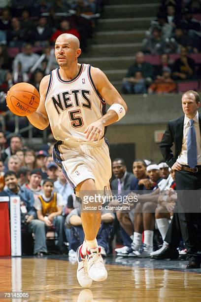 Jason Kidd of the New Jersey Nets takes the ball upcourt during the NBA game against the Los Angeles Lakers on December 22 2006 at the Continental...