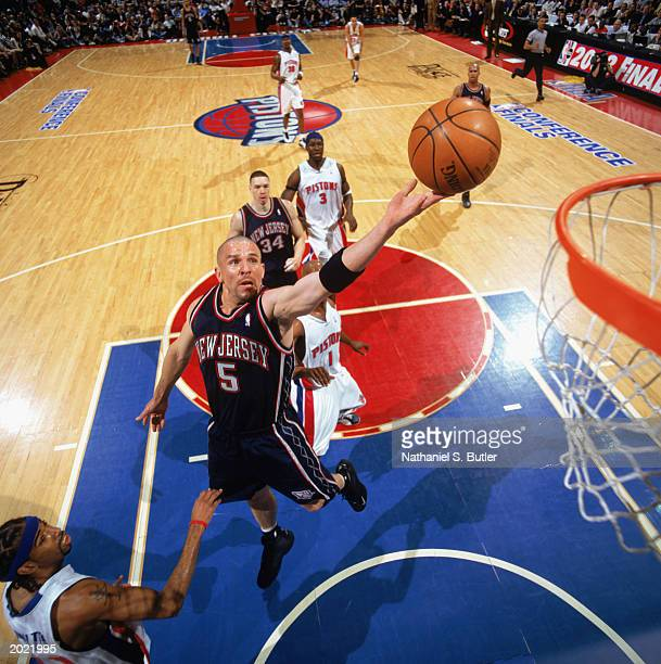 Jason Kidd of the New Jersey Nets takes the layup in Game One of the Eastern Conference finals against the Detroit Pistons during the 2003 NBA...