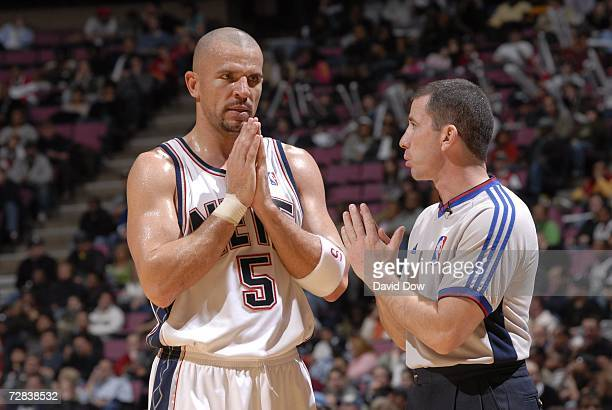 Jason Kidd of the New Jersey Nets talks with the official during the game against the Detroit Pistons on December 16 2006 at the Continental Airlines...