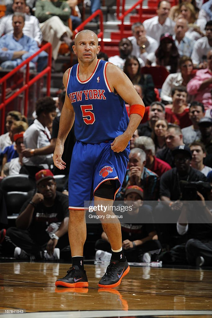 Jason Kidd #5 of the New York Knicks gets ready to resume play during a game on December 6, 2012 at American Airlines Arena in Miami, Florida.