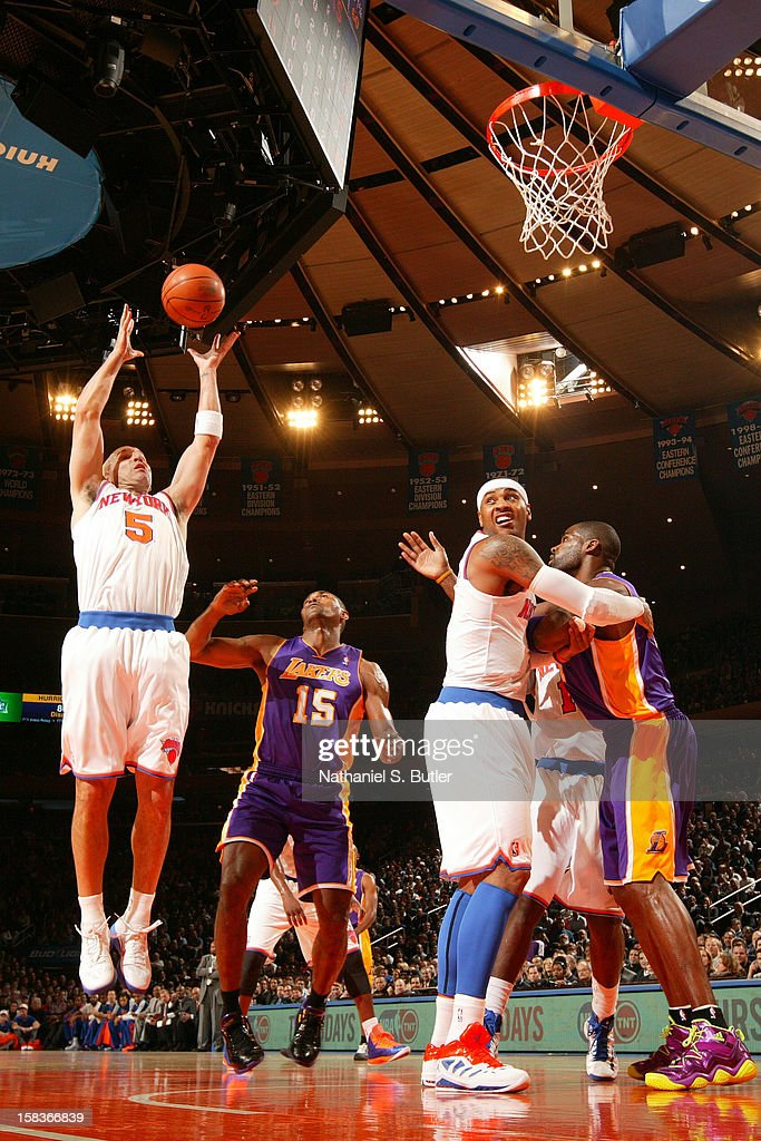 Jason Kidd #5 of the New York Knicks grabs the rebound against the Los Angeles Lakers on December 13, 2012 at Madison Square Garden in New York City.