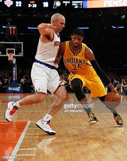 Jason Kidd of the New York Knicks guards Paul George of the Indiana Pacers during Game Two of the Eastern Conference Semifinals of the 2013 NBA...