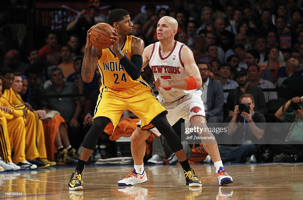 Jason Kidd #5 of the New York Knicks guards Paul George #24 of the Indiana Pacers during Game Two of the Eastern Conference Semifinals of the 2013 NBA Playoffs at Madison Square Garden on May 7, 2013 in New York City.