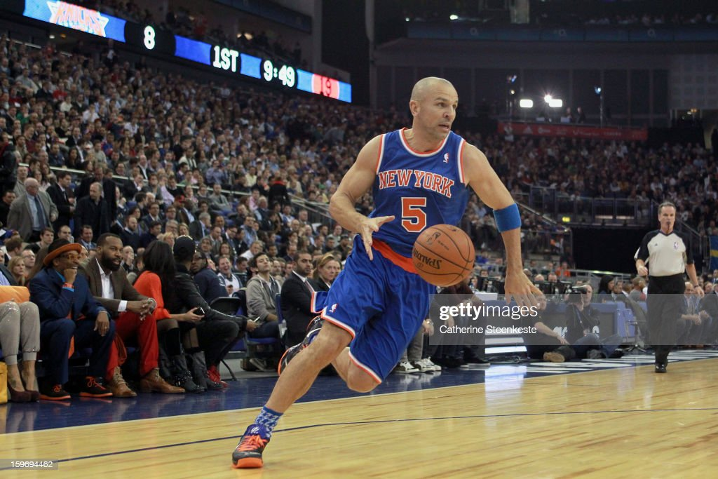 Jason Kidd #5 of the New York Knicks is driving to the basket during a game between New York Knicks and the Detroit Pistons at the O2 Arena on January 17, 2013 in London, England.