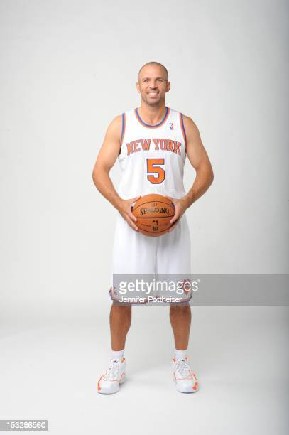 Jason Kidd of the New York Knicks poses for a portrait during Media Day on October 1 2012 at the Knicks Training Facility in Greeburgh New York NOTE...