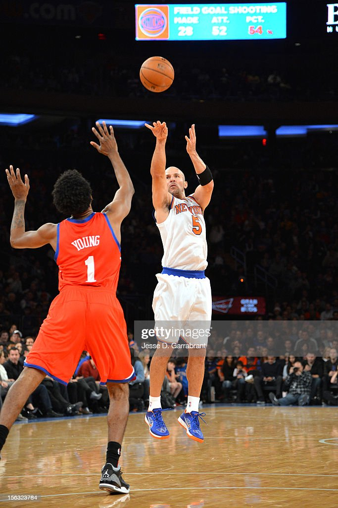 Jason Kidd #5 of the New York Knicks shoots against Nick Young #1 of the Philadelphia 76ers on November 4, 2012 at Madison Square Garden in New York City.