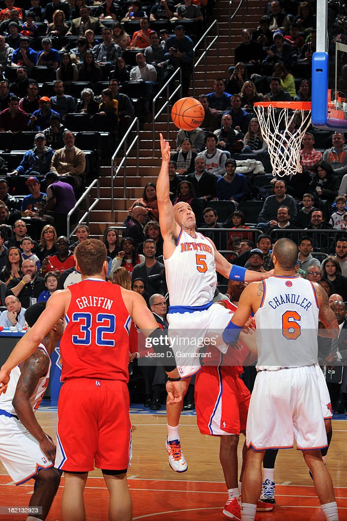 Jason Kidd #5 of the New York Knicks shoots against the Los Angeles Clippers on February 10, 2013 at Madison Square Garden in New York City.