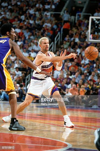 Jason Kidd of the Phoenix Suns passes against the Los Angeles Lakers in game four of the Western Conference Semifinals during the 2000 NBA Playoffs...