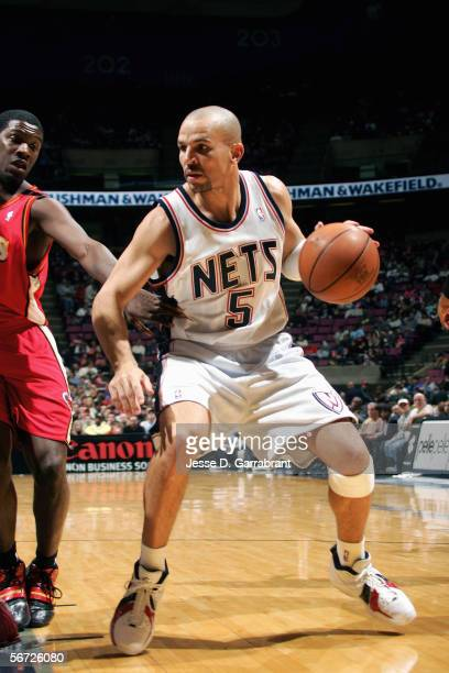 Jason Kidd of the the New Jersey Nets moves the ball during the game against the Atlanta Hawks at Continental Airlines Arena on December 30 2005 in...