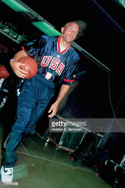Jason Kidd of the United States National Team takes the court against the Canadian National Team during a 2000 pre-Olympic exhibition games on August...
