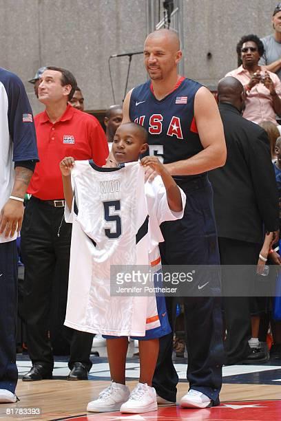 Jason Kidd of the USA Basketball Senior Men's Team visits with a fan during the USA Basketball Senior Men's Team Media Tour at Rockefeller Center...