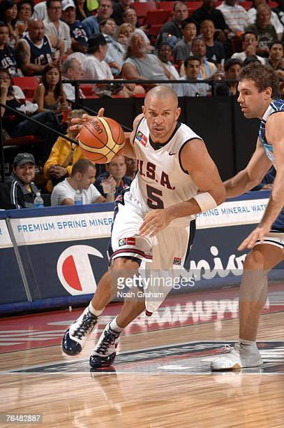 Jason Kidd of the USA Men's Senior National Team drives against Argentina during the gold medal game of the 2007 FIBA Americas Championship at the...