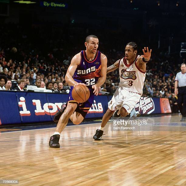 Jason Kidd of the Western Conference AllStars drives to the basket against Allen Iverson of the Eastern Conference AllStars during the 2000 NBA...