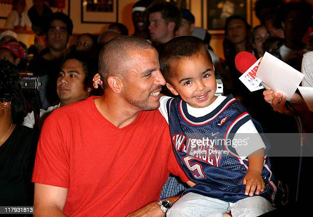 Jason Kidd with son TJ during The NBA Store hosts the '2nd Annual BackToSchool Style Preview' at NBA Store in New York City New York United States