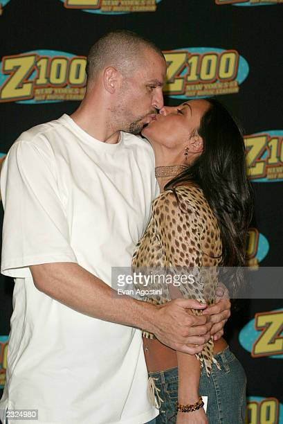 Jason Kidd with wife Joumana at Z100's Zootopia summer concert event at Giants Stadium in East Rutherford New Jersey June 2 2002 Photo Evan...