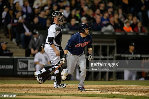 Jason Kipnis of the Cleveland Indians bats during the fifth inning against the Chicago White Sox at US Cellular Field on April 11 2014 in Chicago...