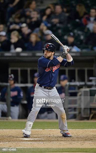 Jason Kipnis of the Cleveland Indians bats during the ninth inning against the Chicago White Sox at US Cellular Field on April 11 2014 in Chicago...