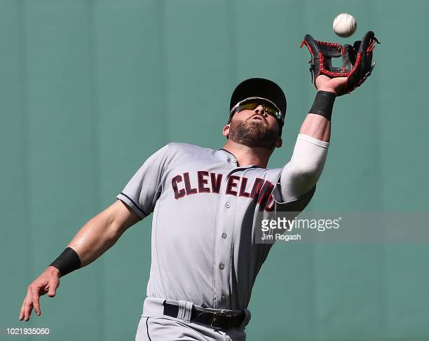 Jason Kipnis of the Cleveland Indians catches a ball hit by Eduardo Nunez of the Boston Red Sox in the sixth inning at Fenway Park on August 23 2018...