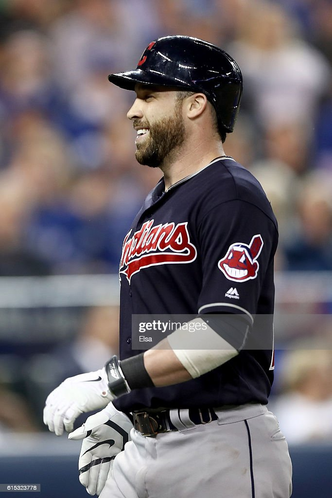 Jason Kipnis #22 of the Cleveland Indians celebrates after hitting a solo home run in the sixth inning against Marcus Stroman #6 of the Toronto Blue Jays during game three of the American League Championship Series at Rogers Centre on October 17, 2016 in Toronto, Canada.