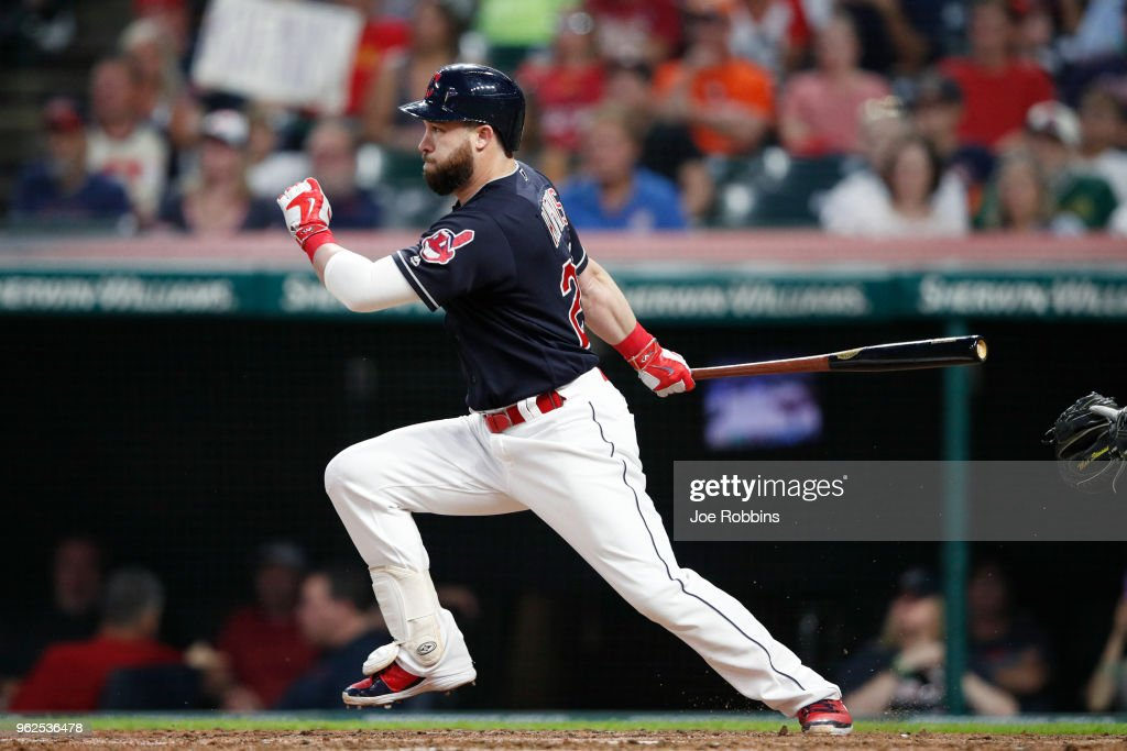 Jason Kipnis #22 of the Cleveland Indians drives in a run with a ground out in the sixth inning against the Houston Astros at Progressive Field on May 25, 2018 in Cleveland, Ohio.