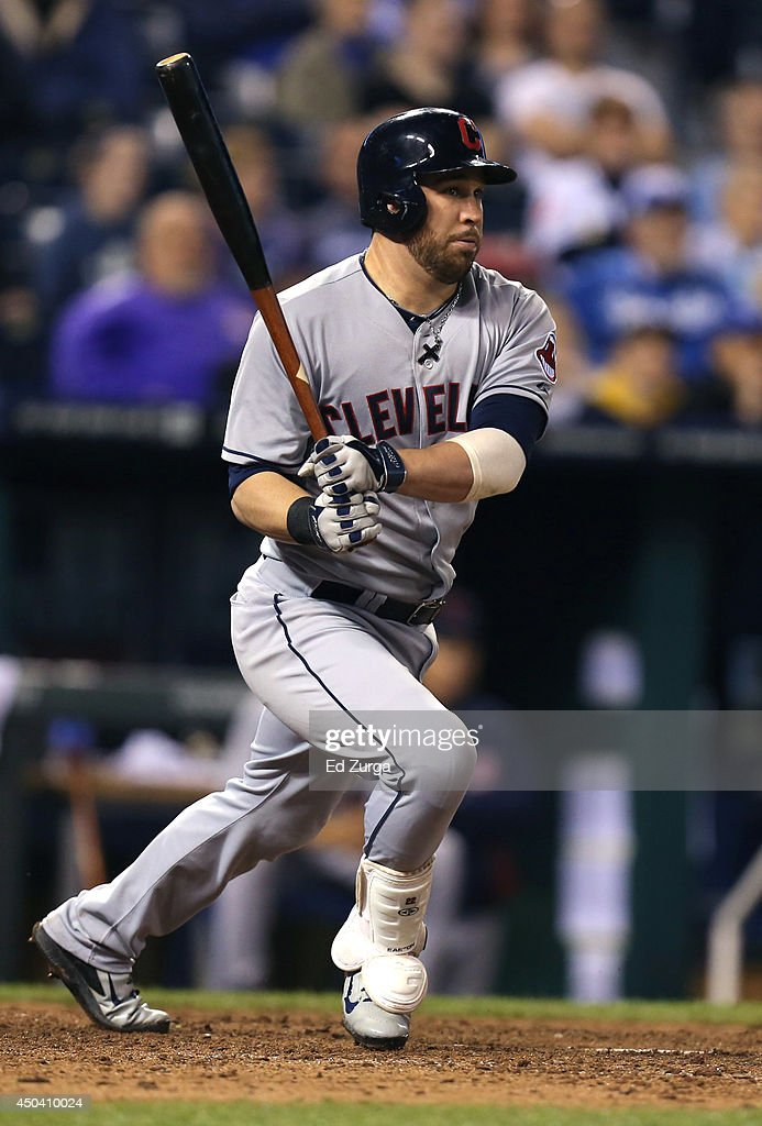 Jason Kipnis #22 of the Cleveland Indians hits a two-run double in the eighth inning against the Kansas City Royals at Kauffman Stadium on June 10, 2014 in Kansas City, Missouri.