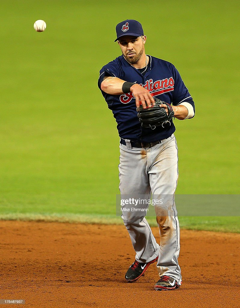 Jason Kipnis #22 of the Cleveland Indians makes a throw to first during a game against the Miami Marlins at Marlins Park on August 3, 2013 in Miami, Florida.